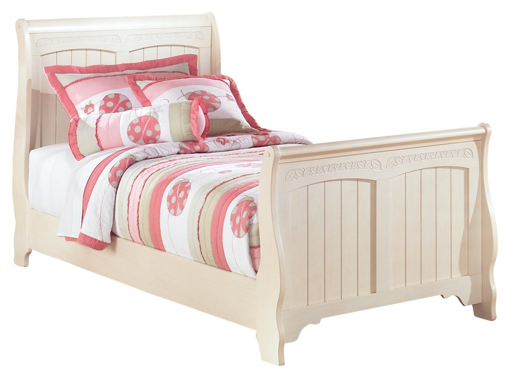 Ashley Furniture Signature Design - Cottage Retreat Casual Sleigh Bedset - Twin Size Bed - Cream White