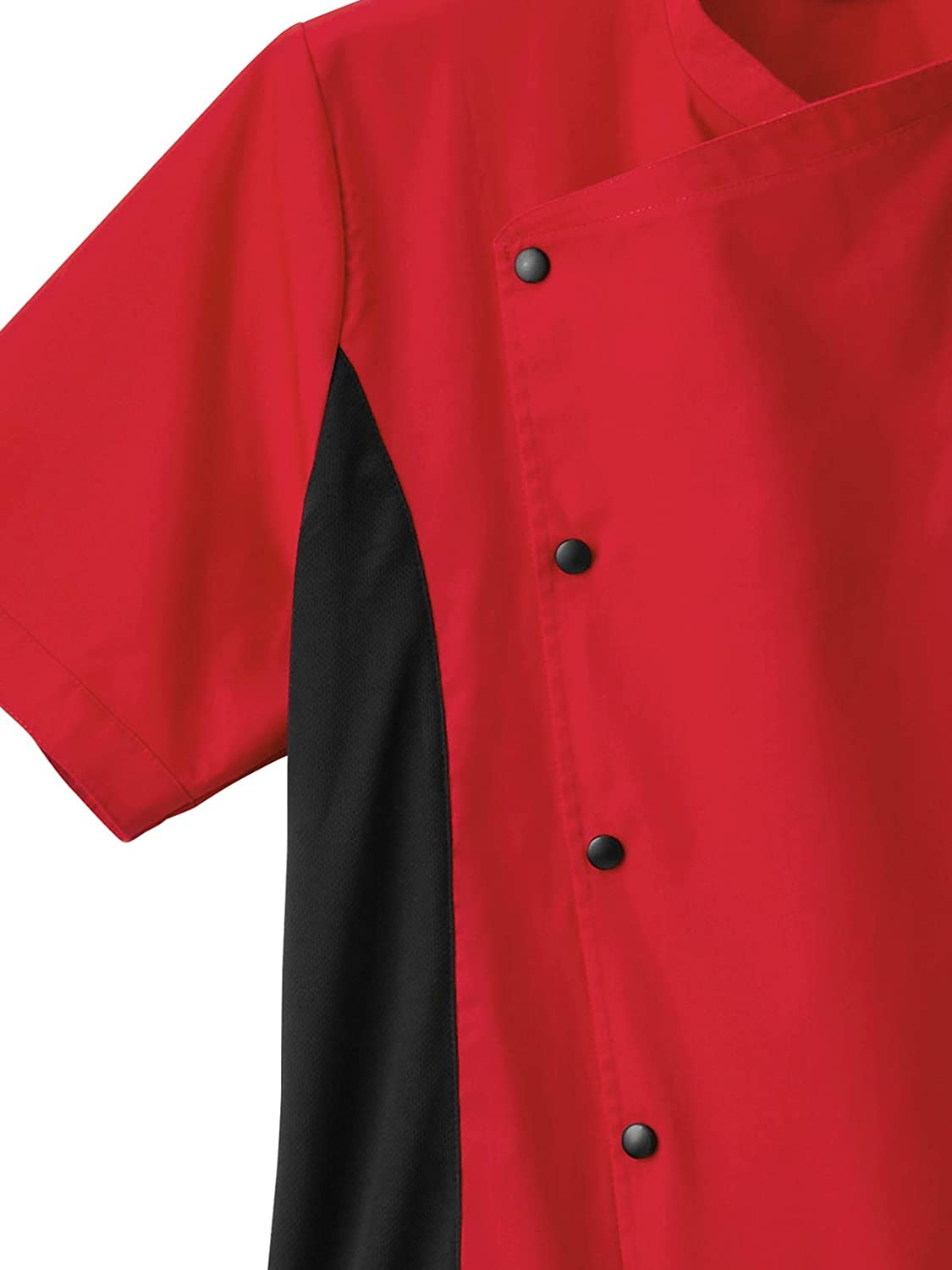 Five Star Chef Apparel 18987 Mens Moisture Wicking Side Panel Snap Front Chef Coat Red S
