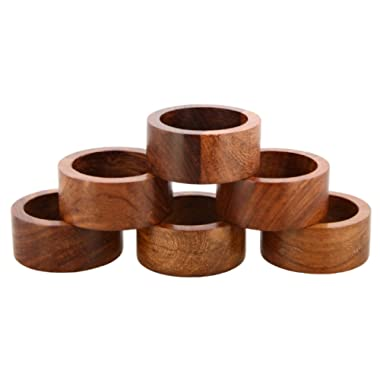 Shalinindia Handmade Wood Napkin Ring Set With 6 Napkin Rings - Artisan Crafted in India