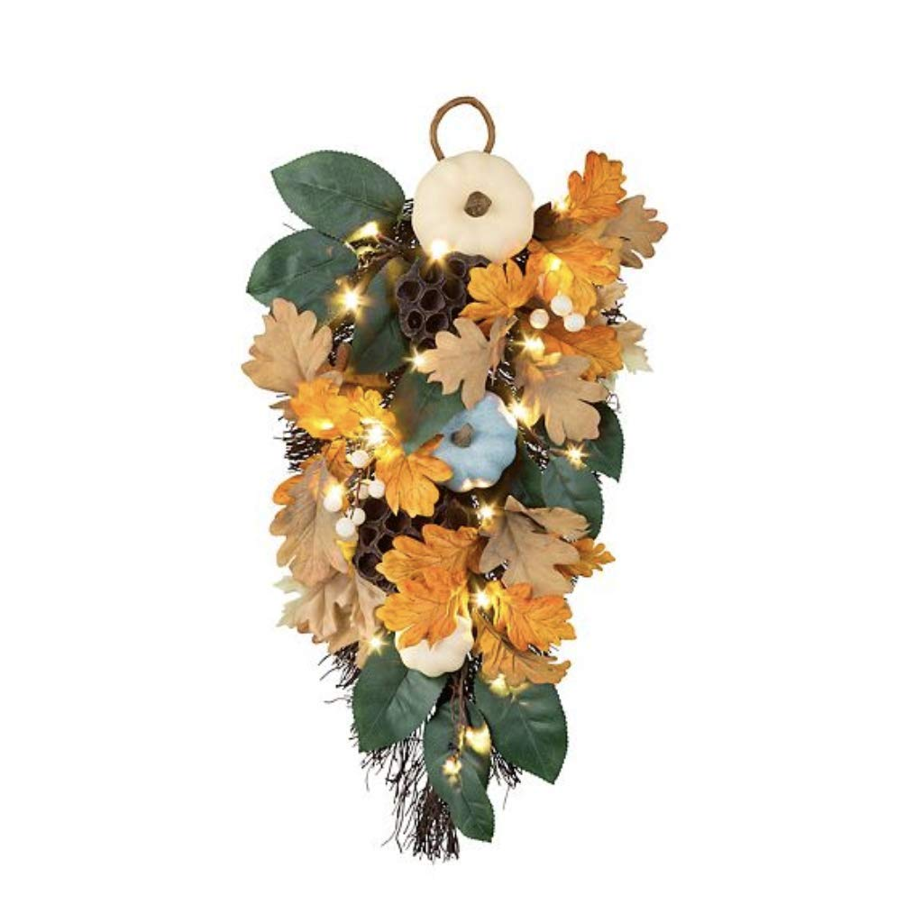 Pre Lit Blue Harvest Moon Fall Swag Wall or Door Decoration