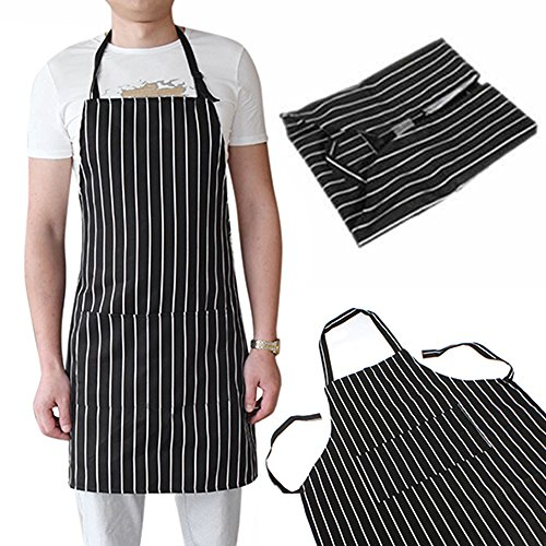 Adjustable Adult Black Stripe Bib Apron with 2 Pockets Chef Waiter Kitchen (Meat Dress Costume Diy)