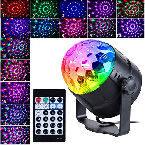 New Arrival Disco Light 15-Color Disco Ball Light Sound Activation Party Lights with Remote Control Strobe Light Stage Light with dimming Party Birthday KTV DJ bar car Holiday Decoration (US Plug)