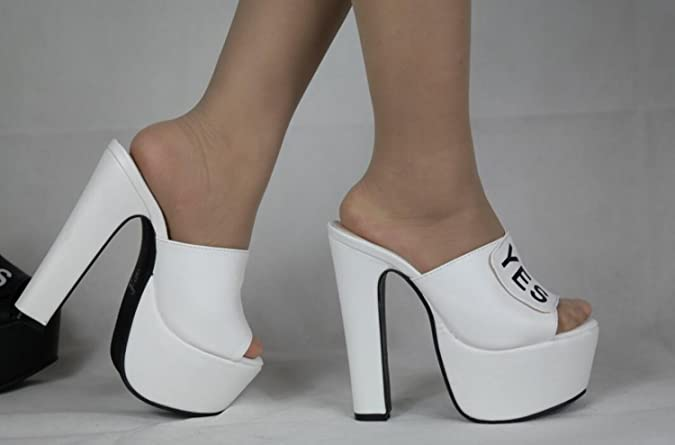 11ba7a805ecf3b DANDANJIE Women High Heels Shoes Fashion Elegant Sexy Slippers Spring  Nightclub Increased Comfort Outdoor Shoes (Color   White