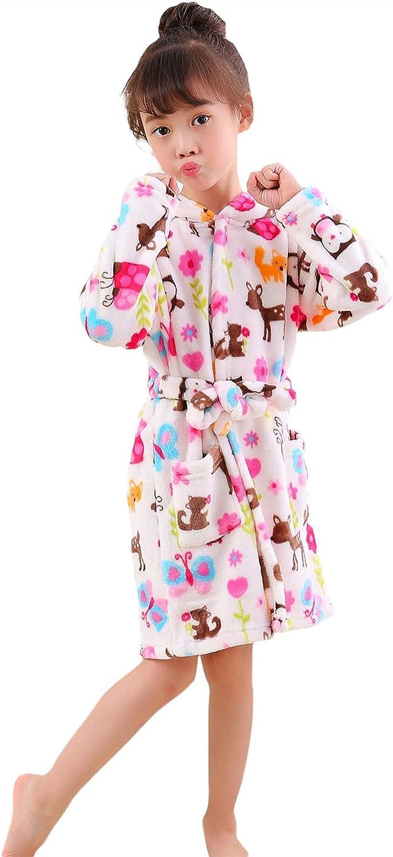 Kids Robe Boys Girls Hooded Sleep Robe Soft Flannel Bathrobe Dressing Gown Gift