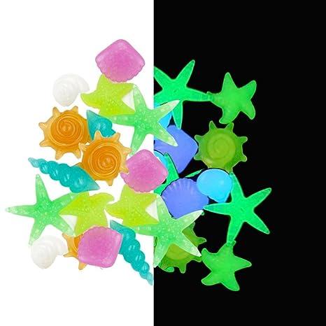 YHLVE 50 Piezas de Piedras de Imitación para Acuario Artificiales, Luminosas y Brillantes, para