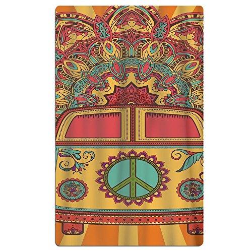FSKDOM Hippie Vintage Mini Van Peace Cotton Easy Care Maximu