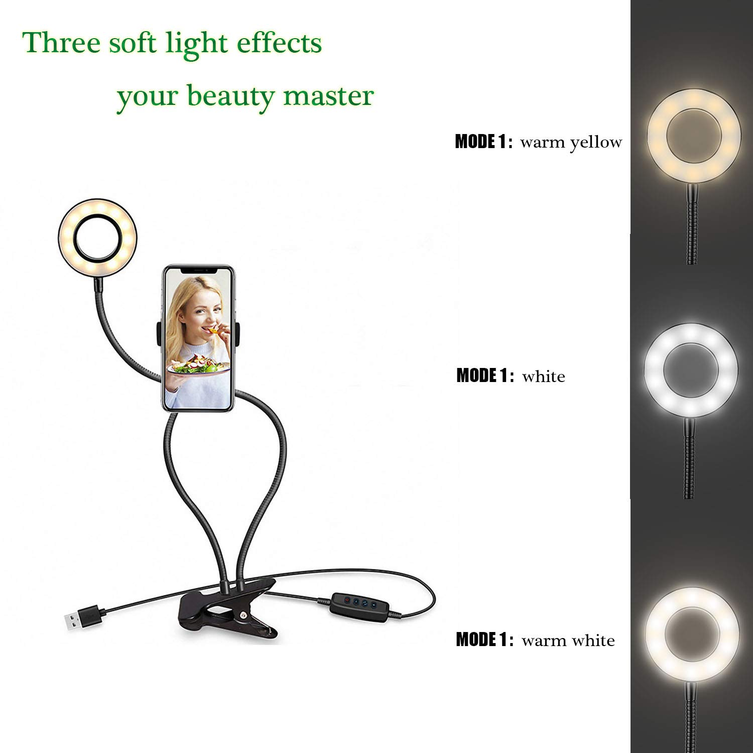 Selfie Ring Light with Cell Phone Holder - Umsky Ring Light Suitable for Live Stream/Makeup,3 Light Mode 10 Brightness 48 LED Bulb 360° Rotating Swan Neck Stand for iPhone/Android Cell Phone (Black)