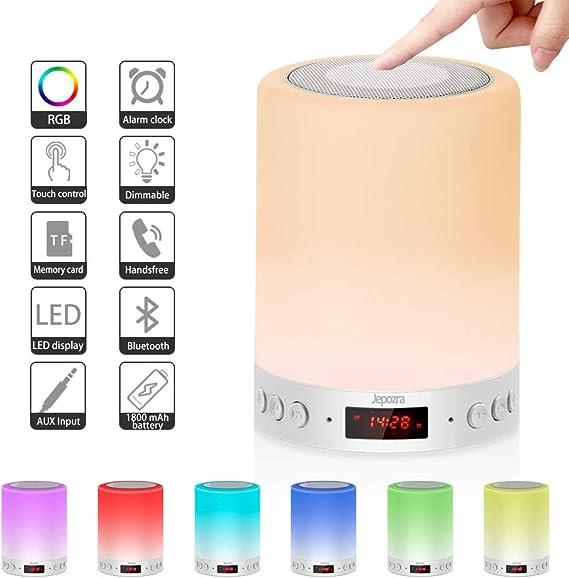 Lampe de Chevet Multifonction 5 en 1, Supporte Enceinte Bluetooth et la Fonction Réveil, Prend en Charge Trois Réglages de luminosité et Sept