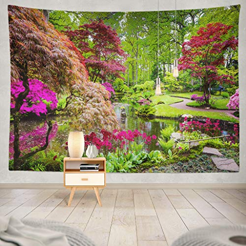 KJONG Traditional Japanese Garden Garden Flower Japanese Color Nature House Park Spring Landscape River LakeDecorative Tapestry,60X80 Inches Wall Hanging Tapestry for Bedroom Living Room ()