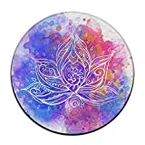 Ornamental Lotus Flower Round Carpet Area Floor Rug Entrance Entry Way Front Door Mat Ground 23.6 Inch Rugs For Decor Decorative Men Women Office