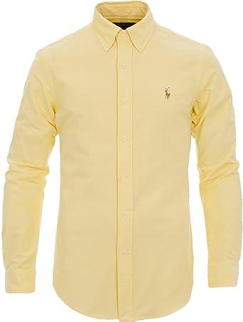 Ralph Lauren Slim Fit Oxford Camisas/Hombre / Azul Blanco Amarillo/S M L XL XXL (L, Amarillo): Amazon.es: Ropa y accesorios