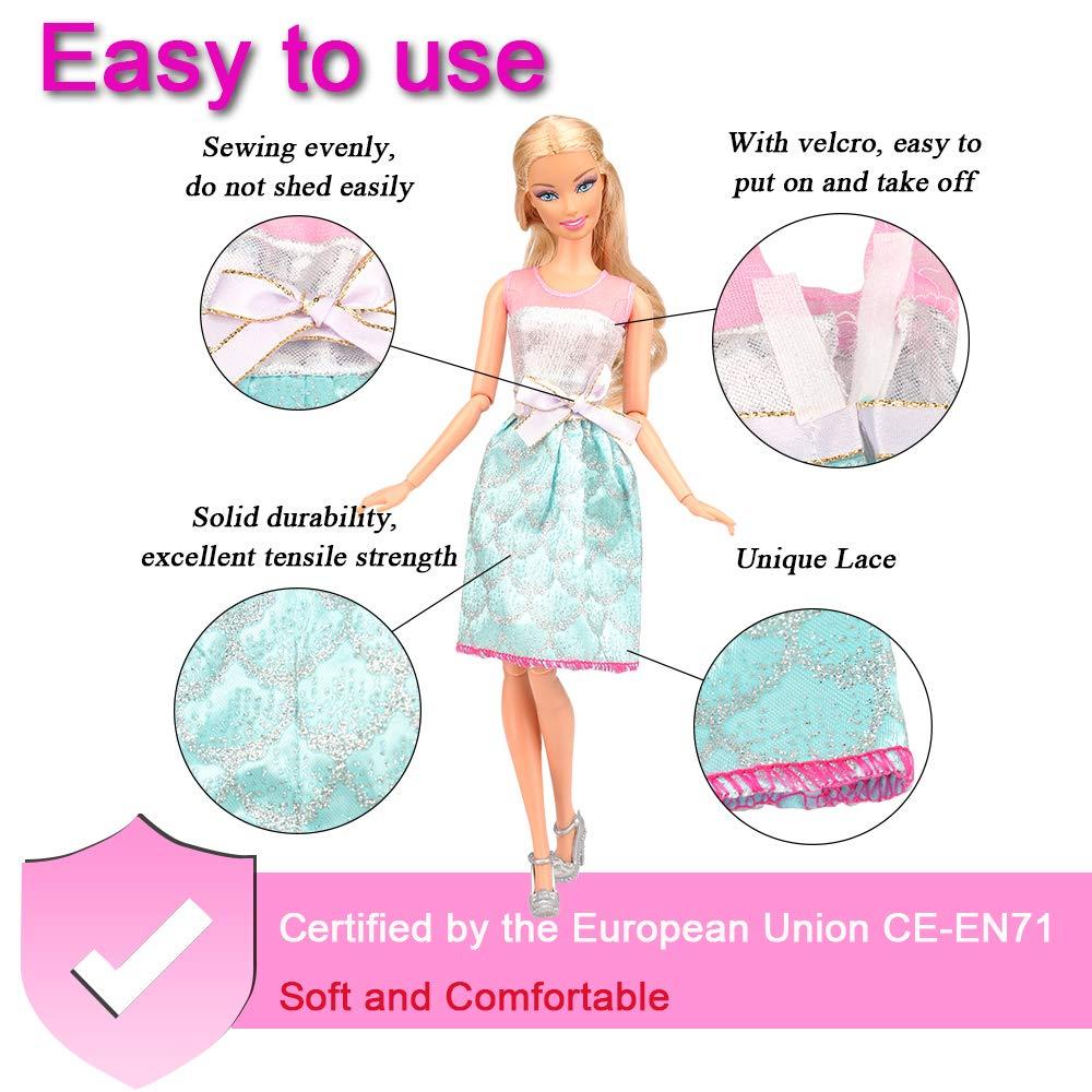 3 Badenanzug f/ür Barbie Puppen Doll Miunana 16 St/ück Kleidung 3 Abendkleider 10 Casual Kleider