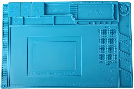 SNOWINSPRING Station de soudage resistante a la chaleur Tapis ferreux de reparation dordinateur et de telephone mobileTable en silicone isolee de pistolet a air chaud magnetique