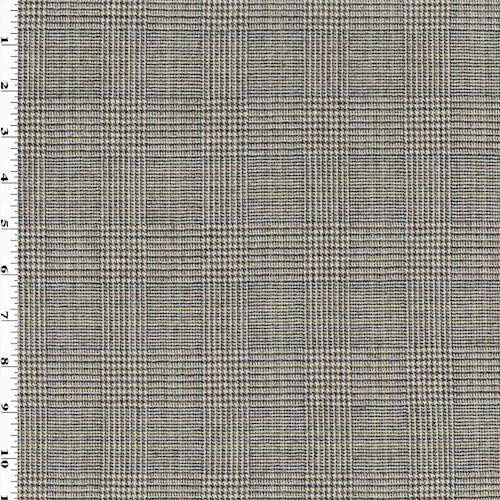 Glen Plaid Fabric (Black/Brown/Ivory Wool Glen Plaid Suiting, Fabric by The Yard)