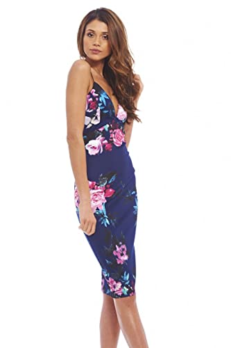 AX Paris Women's Floral Plunge String Strap Midinavy Dress
