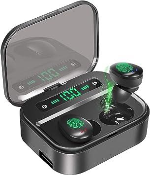 PEYOU Auriculares Inalámbricos Bluetooth 5.0, 3500mAh/120H Playtime, Pantalla LCD Estuche de Carga, IPX7 Impermeables Auriculares In-Ear Deporte, Auricular de Estéreo con Micrófono para iPhone/Android: Amazon.es: Electrónica