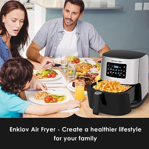 ENKLOV Freidora de Aire Sin Aceite Air Fryer 7L, Panel Táctil Intuitivo con 9 Programas Automáticos para Reuniones Familiares 5-7 Personas, 1700W