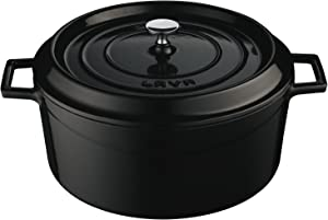Lava Signature Enameled Cast-Iron Round Dutch Oven - 7 Quart, Obsidian Black