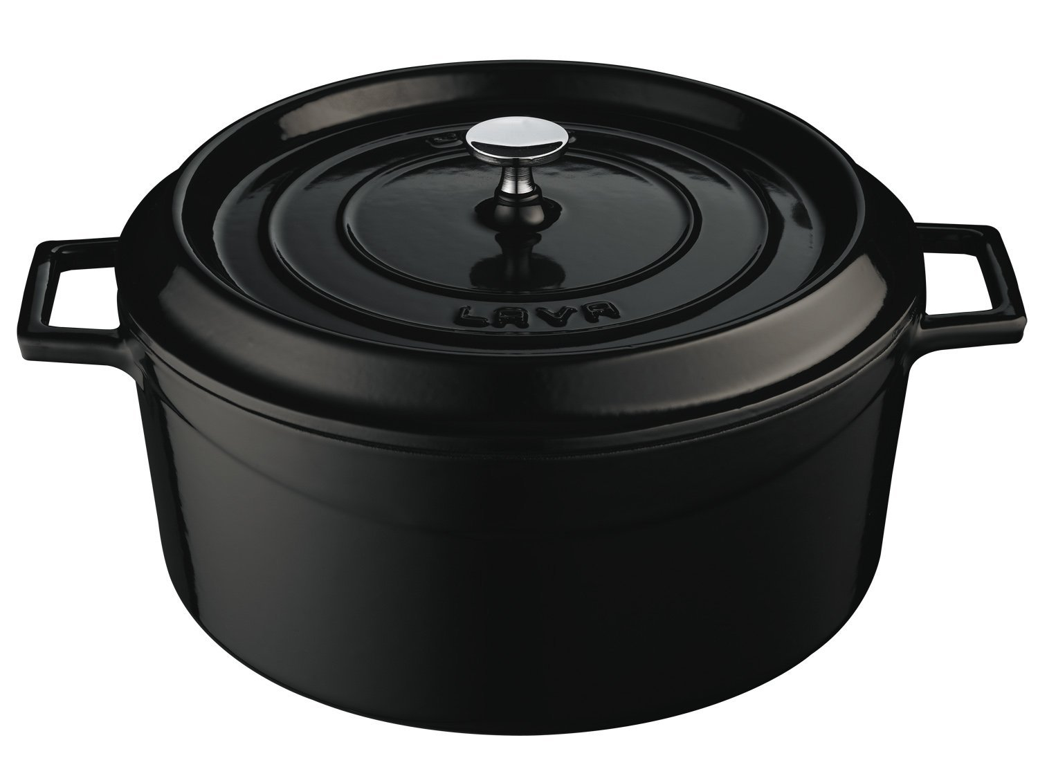 Lava Signature Enameled Cast-Iron Round Dutch Oven - 7 Quart, Obsidian Black