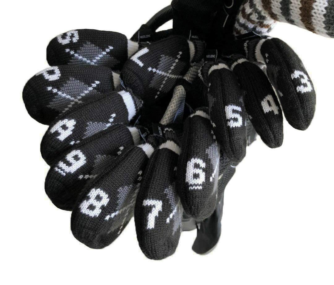 HUGELOONG Knit Golf Iron Head Covers Set 11 Piece 3~L Head Covers Numbers on Top Side …