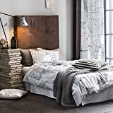 Vintage Graphic New York City Map Patterned Duvet Quilt Cover 3pc Set Black and White Antique Rustic NYC Drawing Print Cotton Bedding (King)