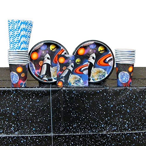 Space Blast Party Supplies Pack for 16 Guests: Luncheon Plates, Beverage Napkins, Cups, Table Cover, and Straws -
