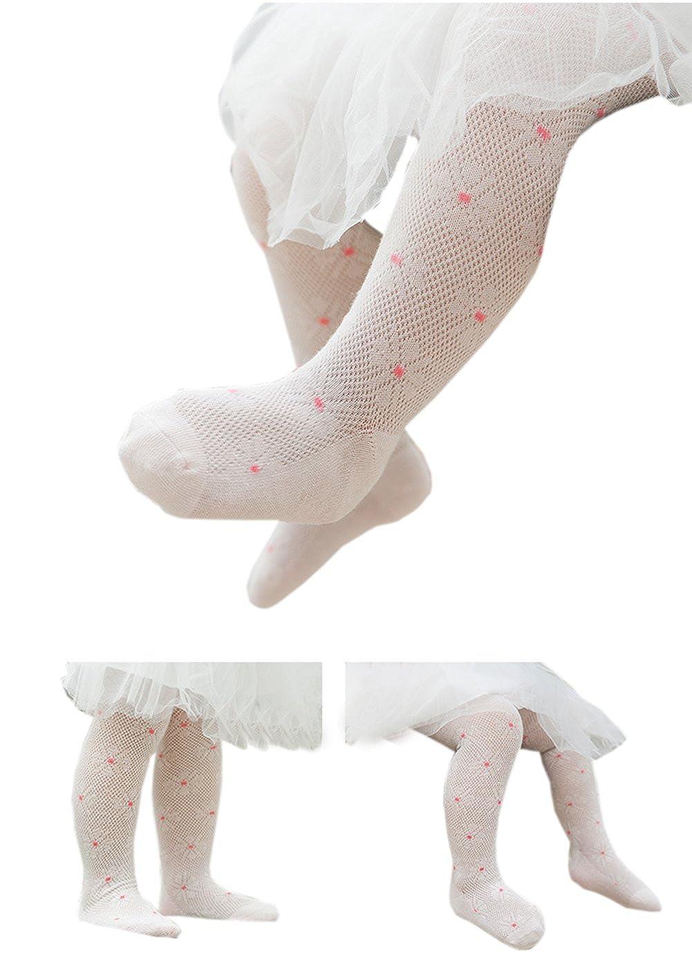 Taiycyxgan Baby Girls Cotton Tights Infant Mesh Net Flowers Leggings Stocking 4-Pack