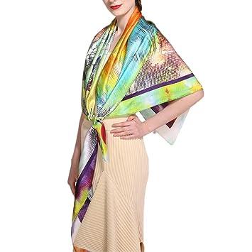 Pollusui Bufanda de Seda para Mujer Toalla de Playa Estampada con mantón de Sol de Primavera y Verano (Color : Scarf, Size : 135x135CM): Amazon.es: Hogar