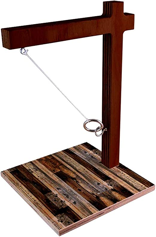 BARCONIC Customizable Tabletop Ring Toss Game Rustic Tree Design