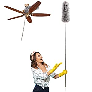 "Dusters for Cleaning Extendable,HAINABC Extendable Duster Reaches Up to 100"",Microfiber Duster for Cleaning Ceiling Fan/Keyboard/Furniture/Cobweb"