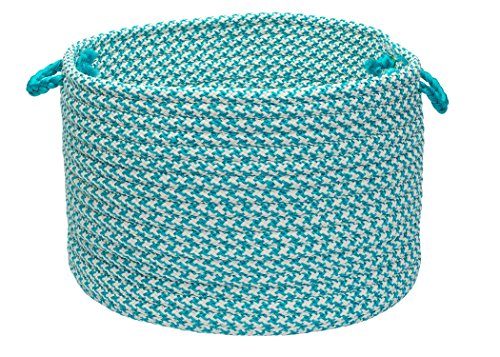Colonial Mills Outdoor Houndstooth Tweed Utility Basket, 14 by 10-Inch, Turquoise