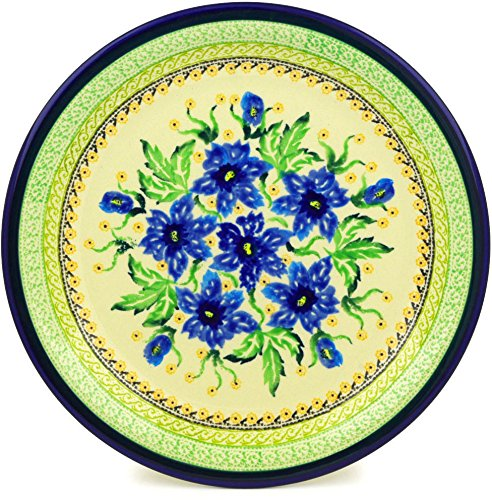 - Polish Pottery 10¾-inch Dinner Plate (Gentian Bouquet Theme) Signature UNIKAT + Certificate of Authenticity