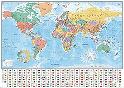 Amazon political map of the world giant xxl poster print political map of the world giant xxl poster print with country flags gumiabroncs Image collections