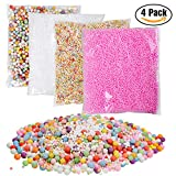 YUEAON 4 pack floam beads slime supplies (45000+1500)pcs 0.08-0.32 inch (2-4-9mm) styrofoam foam beads balls for kids crafts-small+big-colorful-rainbow,white,pink