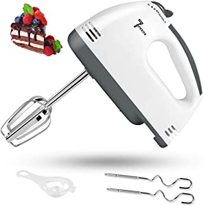 Electric Hand Mixer, 7 Speed Handheld Mixer 2021 Upgraded, Portable Kitchen Blender Stainless Steel Egg Beaters and Whisk with Egg Separator, 2 Dough Hooks and 2 Beaters for Cake, Baking & Cooking