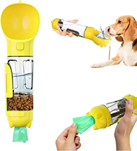 Dog Water Bottle Portable 4 in 1 Leak Proof Dog Water Dispenser with Food Container Poop and Garbage Bag Storage Lightweight Pet Drinking Bowl Bottle for Travel Walking Outdoor (Yellow, 300ml)