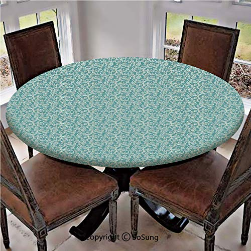 Elastic Edged Polyester Fitted Table Cover,Ethnic Pattern with Floral Swirls Old Fashioned Elegant Gardening Plants Lace,Fits up 40