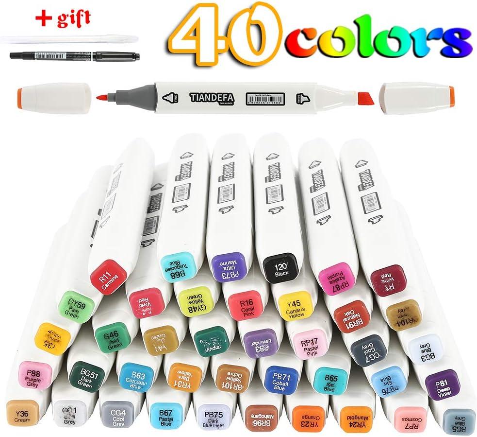 coloriage pour adultes Anime surligner et souligner surligneur avec /étui de transport pour dessiner 40 Colours, Anime croquis Marqueurs permanents 40//60 couleurs /à double pointe pour enfants