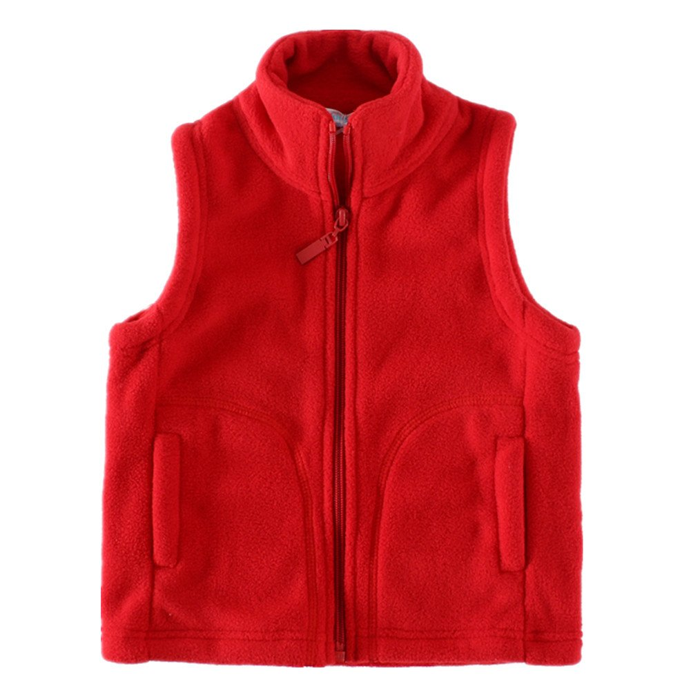 LittleSpring Kids' Fleece Vests Zipper Solid for 2-8 Years Old LS-S0010