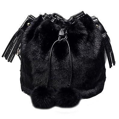 4fad250c03a7 YAOSEN Women Faux Fur Bucket Bag Plush Drawstring Shoulder Bag Crossbody Bag  with Pompon (Black