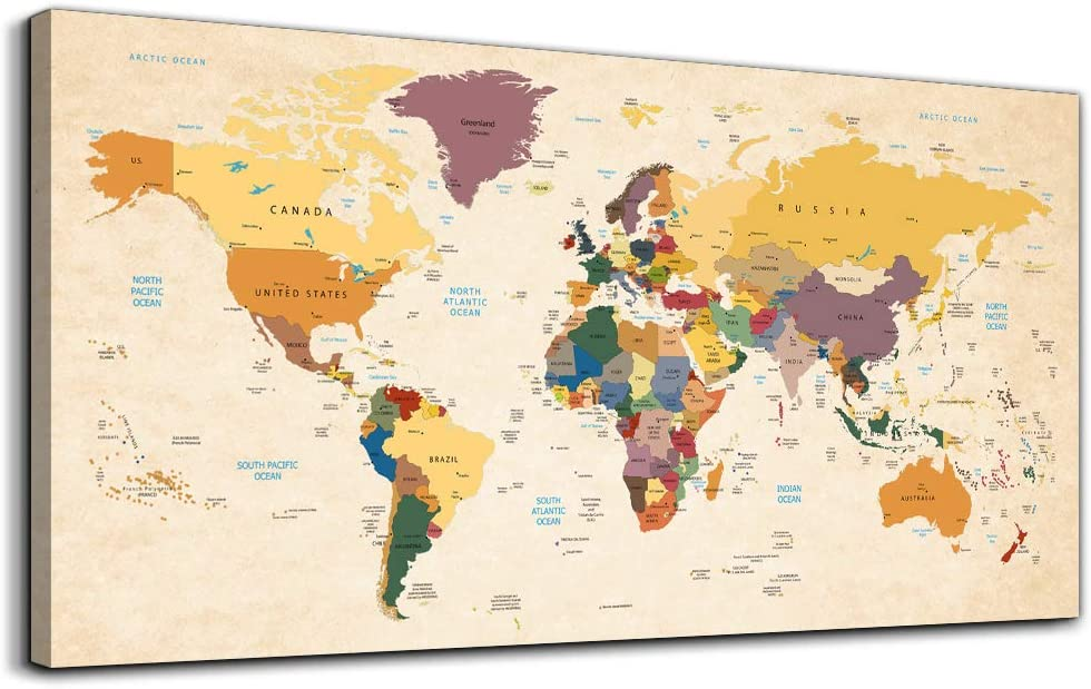 Canvas Wall Art for Office Wall Decor for Living Room, yellow Vintage World Map Poster Printed ,Retro Style world map Color Map Prints picture Watercolor painting Hotel Home Decoration Bedroom Artwork