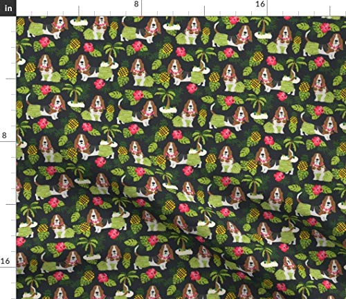 Spoonflower Basset Hound Fabric - Dog Dogs Hula Tropical Summer Basset Hounds by Petfriendly Printed on Fleece Fabric by The - Hound Basset Fleece