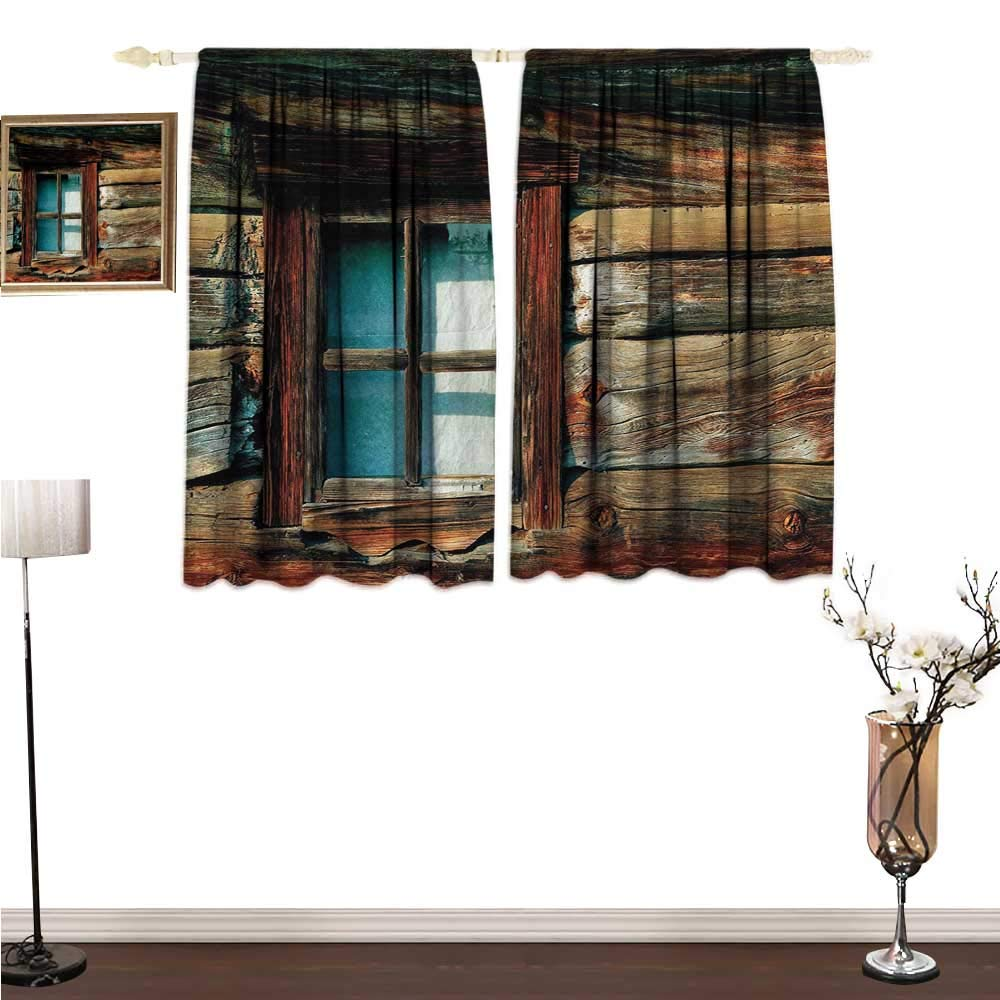 homehot Window Curtains Scenery,Single Window with White Curtain on a Wooden Background Lumberjack House Photo,Brown and Blue Decorative Curtains for Living Room W63 x G72