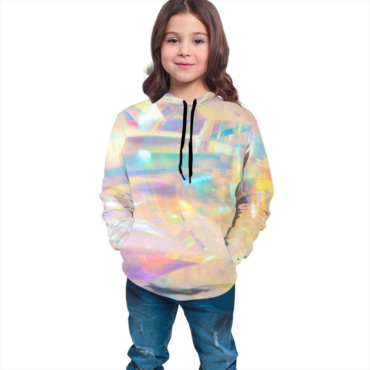 Lichenran Holographic Iridescent Metallic Men 3D Print Pullover Hoodie Sweatshirt with Front Pocket