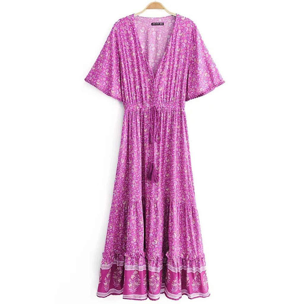 Serzul Women's Elegant Vintage Maxi Dress Short Sleeve Deep V-Neck Dress Print Tassel Buttons Dress Hot Pink by Serzul Women Dress (Image #4)