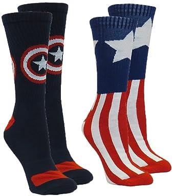 Marvel Capitán América Hombres de calcetines de Athletic, pack 2 pares, calcetines tamaño 10 - 13/zapatos tamaño 6 - 12: Amazon.es: Deportes y aire libre