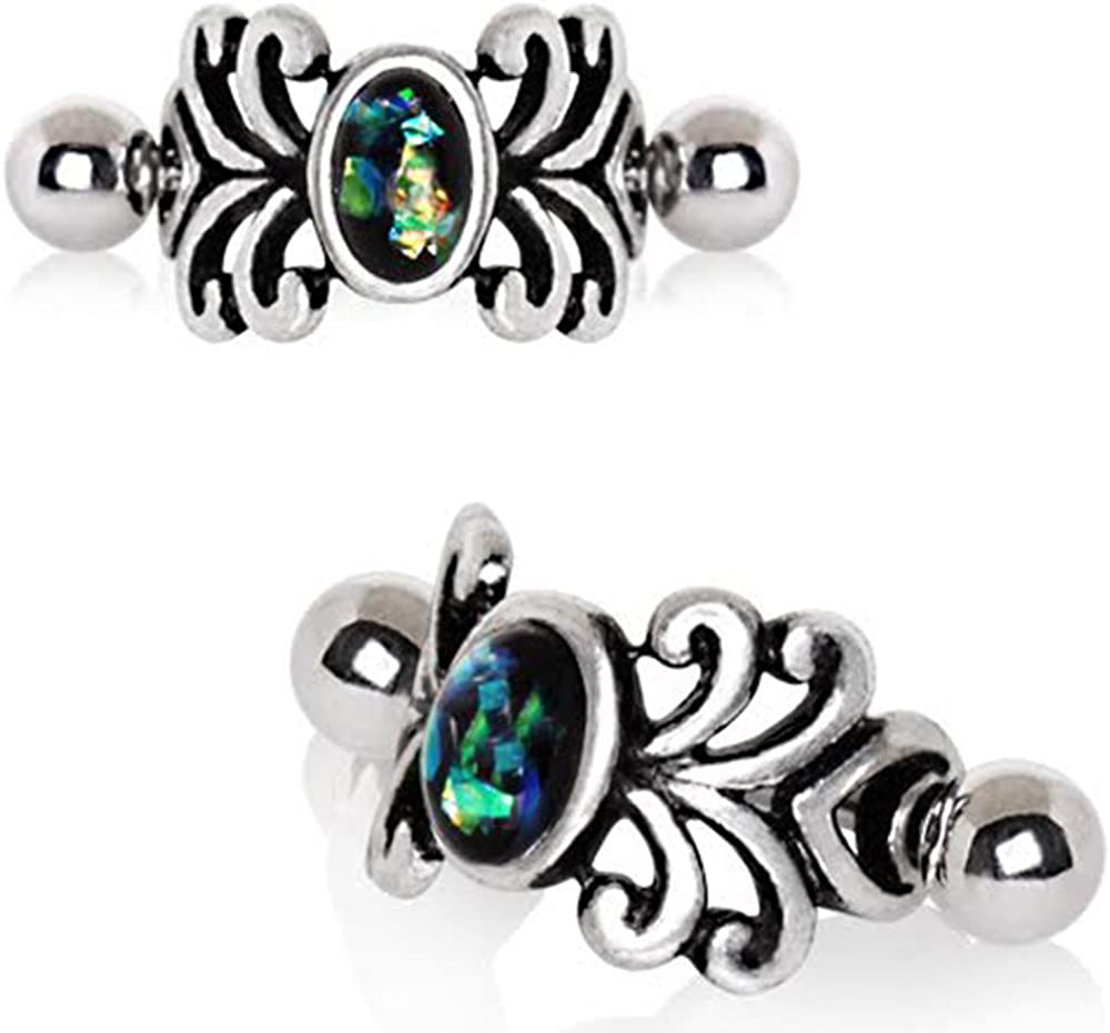 Dark Opal 316L Stainless Steel Medieval Design Vine WildKlass Cartilage Cuff Earring