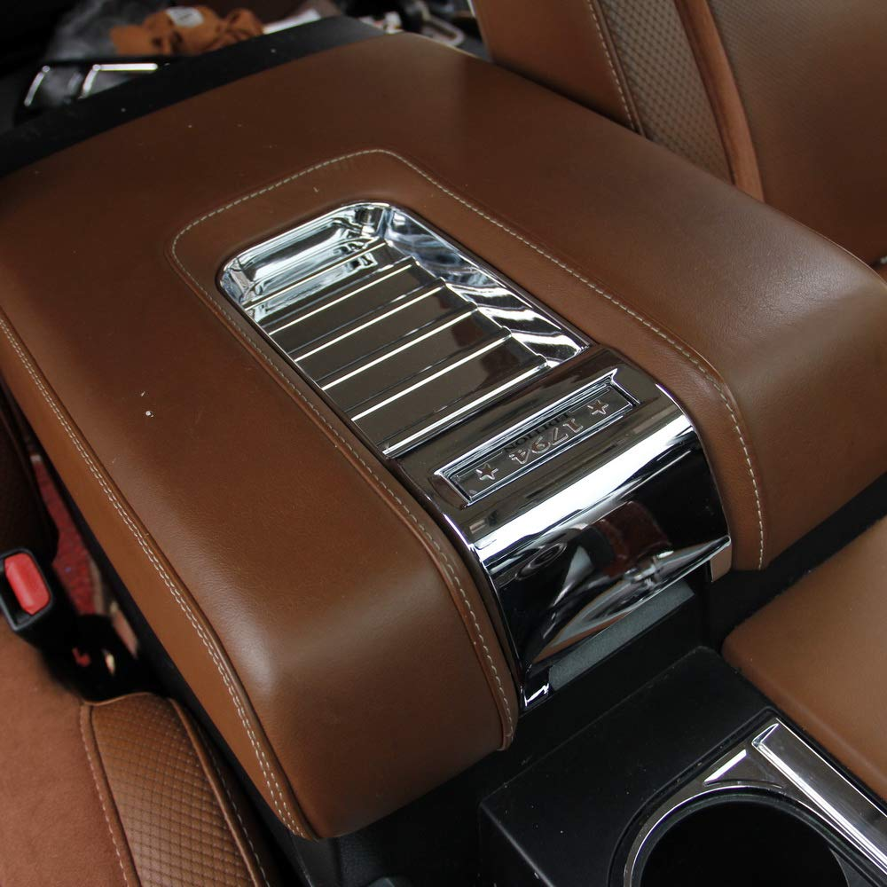 Justautotrim Chrome Interior Central armrest Cover Trims for Toyota Tundra 2014 2015 2016 2017 2018 2019 5559019857
