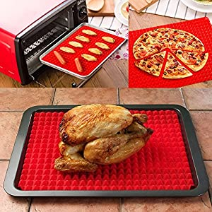 Seacan Silicone Non Stick Baking Mat Pyramid Pan,40.5x 29cm,Red