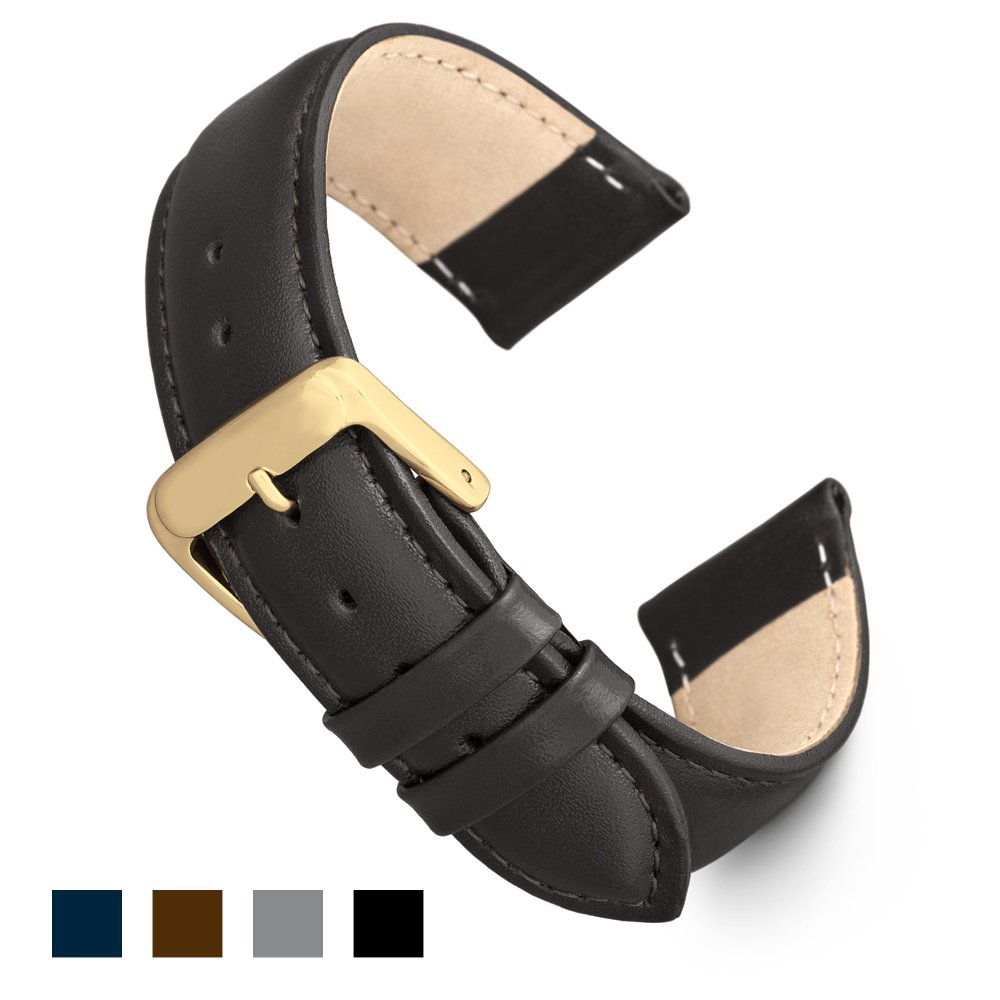 Speidel Genuine Leather Watch Band 24mm Black Calf Skin Replacement Strap, Stainless Steel Gold Tone Metal Buckle Clasp, Watchband Fits Most Watch Brands by Speidel (Image #1)